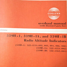 Collins  339H-1, 339H-1A & 339H-1B Radio Altimeter Indicator Overhaul manual