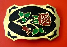 Vintage Beautiful Rose Hand Made Brass Belt Buckle