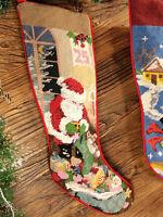 Needlepoint Christmas Stocking Beautiful Santa Claus Snowman Jingle Bells
