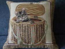 "14"" Kitten in a Basket Belgian Tapestry Cushion Cats Cat 35cm Cotton Belgium"