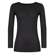 Women Sheer Mesh Top Ladies See Through Long Sleeve Plain T-Shirt Top Plus Size