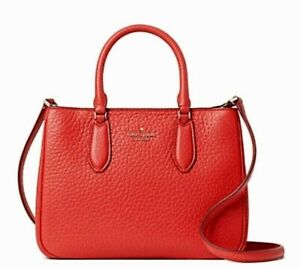 New Kate Spade Leighton small Satchel Chunky Pebble Leather Digital Red