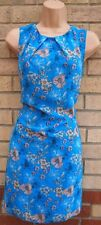 PRIMARK BLUE GREY WHITE FLORAL SLEEVELESS SHIFT TUNIC CAMI SLIP TEA DRESS 8 S