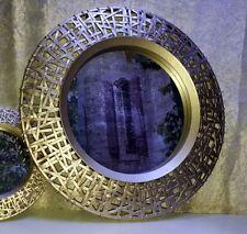 Wandspiegel Rattanoptik rund neu edel tolles Design elegant Deko 50cm champagner