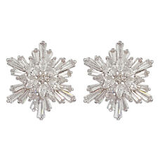 WHITE CRYSTAL CHRISTMAS SNOWFLAKE FLOWER EARRINGS MADE WITH SWAROVSKI ELEMENTS