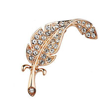 GORGEOUS 18K ROSE GOLD PLATED AND GENUINE AUSTRIAN CRYSTAL LEAF  BROOCH
