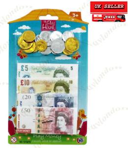 Kids Toy Fake Pretend Money Children's Play Cash New £5, £10 & £20 Notes Coins