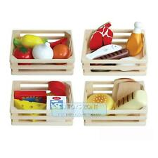 Wooden Set 4 Food Box 20 pcs Bread Fruit Milk Pretend Role Play Kitchen Toy