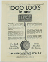 1917 Caskey Dupree Mfg. Co. Ad: Thiefold Ignition Lock - Marietta, Ohio