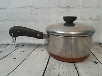 VTG Revere Ware Sauce Pan Pot Stainless Steel Copper Bottom W/ Lid Collectable