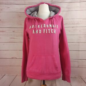 ABERCROMBIE & FITCH Womens Zip Hoodie Sweater UK Large Pink Cotton