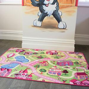 Children's Kids Rug Town Road Map Funfair Toy Rug Play Village Mat 95 x 133cm
