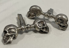Vintage Heavy Sterling Silver Double Skull Biker Cuff Links