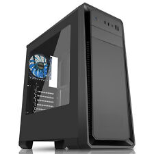 CIT Dark Soul Negro Gaming Midi ATX PC Case 12cm Azul LED Fan Ventana Lateral USB3.0