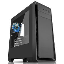 Cit Dark Soul Black Gaming Midi ATX PC Case 12cm Blue LED Fan Side Window USB3.0
