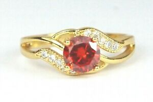 Women's Gold plated Red Crystal Ring UK Size M