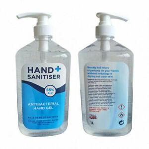 Hand Sanitiser Gel - 1L Pump Bottle - 65% Alcohol - UK STOCK