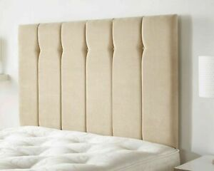 Plush Velvet Upholstered Vertical Panel Button Fabric Divan Bed Padded Headboard
