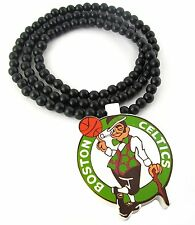 "Hip Hop Boston Celtics Kyrie Irving NBA 36"" Wood Wooden Bead Beaded Necklace"