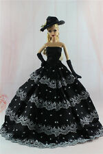 Gorgeous Princess Dress/Clothes Wedding Gown+gloves+hat For Barbie Doll N12U