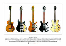 John Lennon's Guitars Limited Edition Fine Art Print A3 size