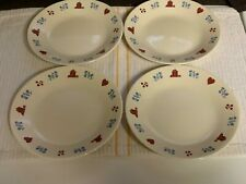 Set of 4 Corelle HOMETOWN Bread and Butter/Dessert Plates w/ Red Houses & Hearts