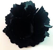 USA Hair Fabric Flower Clip Brooch Womens Rose Peony Lady Sheer Black Beach