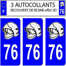 3 sticker plaque immatriculation auto DOMING 3D RESINE CASQUE POMPIER DEPARTE 76