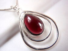 Garnet Pendant in Double Hoop 925 Sterling Silver Imported from India New
