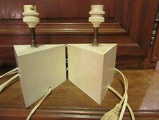 ancienne paire de lampes en metal peint vintage design 1970 creme chevet