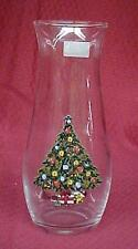 Christmas Holiday Tree Clear Glass Flower Vase Pasabahce Turkey Vintage