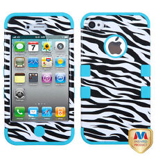 iPhone 4 4S Rubber IMPACT TUFF HYBRID Case Skin Phone Cover Zebra Teal