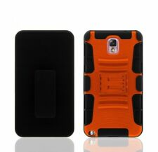 SAMSUNG GALAXY NOTE 3 BLACK RUBBERIZED CASE BELT CLIP HOLSTER STAND ORANGE