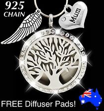 Mum Crystal TREE of LIFE Essential Oil Diffuser 925 Sterling Silver Necklace New
