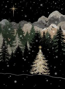 Bug Art Christmas card embossed foil/jewel effect - 'Mountain Tree' -  SINGLE