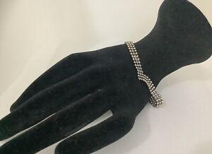 Silver 925  Beaded Bracelet  Italian Design Vintage  7 Inch J1