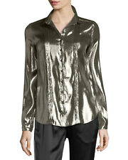 Burberry London Button Blouse Shirt NWT Size US 4  UK 6 Gold Metallic $825 Silk