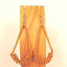 """2 1/2"""" Long Orange Color Teardrop Hoop Handmade Seed Bead Dangle Earring"""