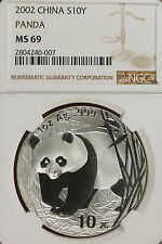 2002 NGC MS69 CHINESE PANDA 10Y 1oz SILVER!!!! #A0615