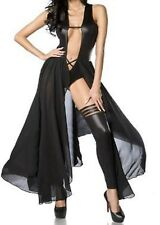 Latex Look See Through Black Mesh Maxi Dress Body Underneath Slit to Waist