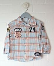 Boys COUNTRY ROAD Checked Button Down Shirt Size 18-24 Months 100% Cotton