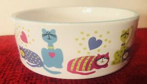 Whisker City Ceramic Cat Bowls Dishwasher Microwave Safe 10 Oz Polka Dot/Striped