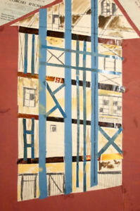 Vintage abstract cubist print collage