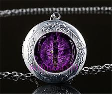 Purple Dragon Eye Cabochon Glass Tibet Silver Locket Pendant Necklace