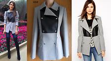 New Karen Millen grey black faux leather moleskin coat jacket CV024 UK 12 £215