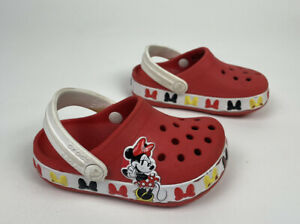 Disney Crocband Crocs Minnie Mouse Bows Toddler Girl Slip On Red Size c6 6 Shoes