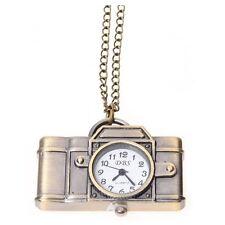 Bronze Vintage Style Camera Pocket Watch Locket Pendant Quartz Long Necklace AD