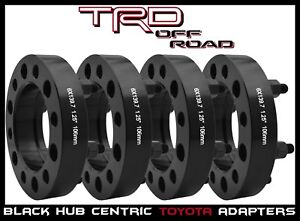 """4 Pc Toyota 1.25"""" Thick Hub Centric Wheel Spacers - Tacoma Tundra 4 Runner Black"""