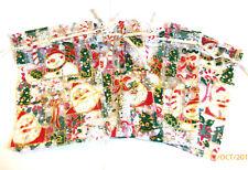 BNWOT Pack 5 Glitter Santa/Snowman Christmas Organza Bags 12cm x 15cm