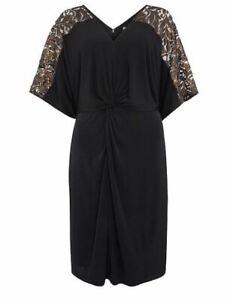 BIBA Size 12 Black Twist Knot Front Jersey Dress Lace Sheer Shoulder Sleeve Gold
